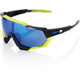 100% Speedtrap Glasses polished black/matte neon yellow | mirror